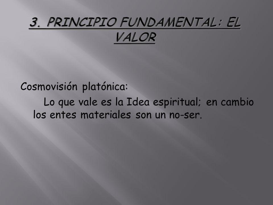 Cosmovisión platónica: Lo que vale es la Idea espiritual; en cambio los entes materiales son un no-ser.