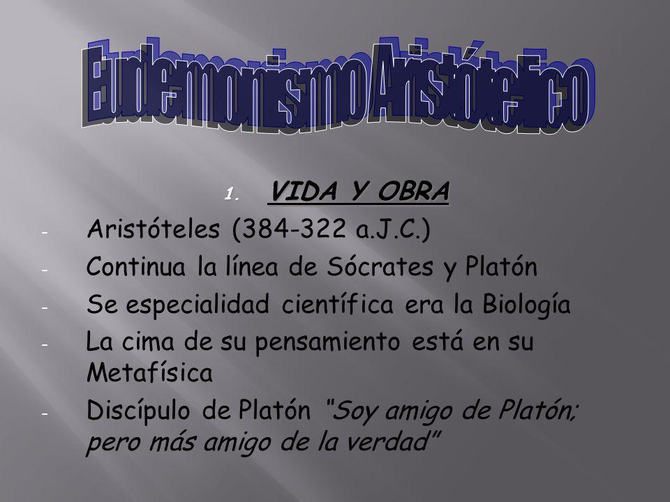 1. VIDA Y OBRA - Aristóteles (384-322 a.J.C.) - Continua la línea de Sócrates y Platón - Se especialidad científica era la Biología - La cima de su pe
