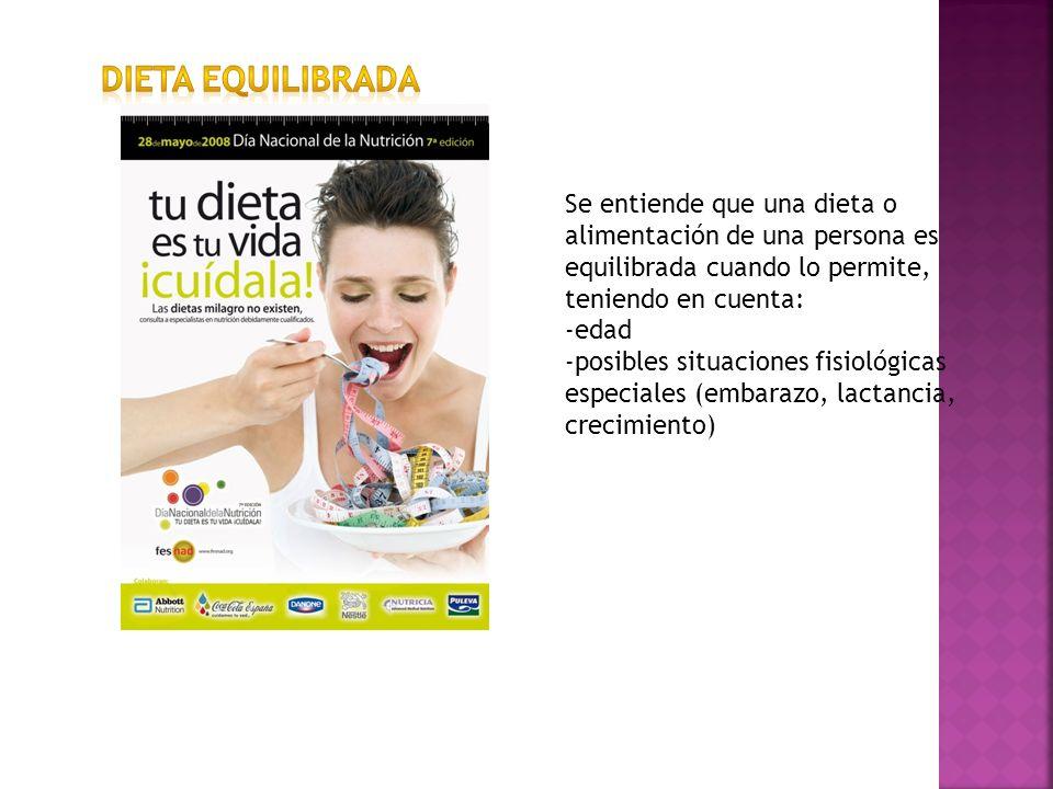 Se entiende que una dieta o alimentación de una persona es equilibrada cuando lo permite, teniendo en cuenta: -edad -posibles situaciones fisiológicas