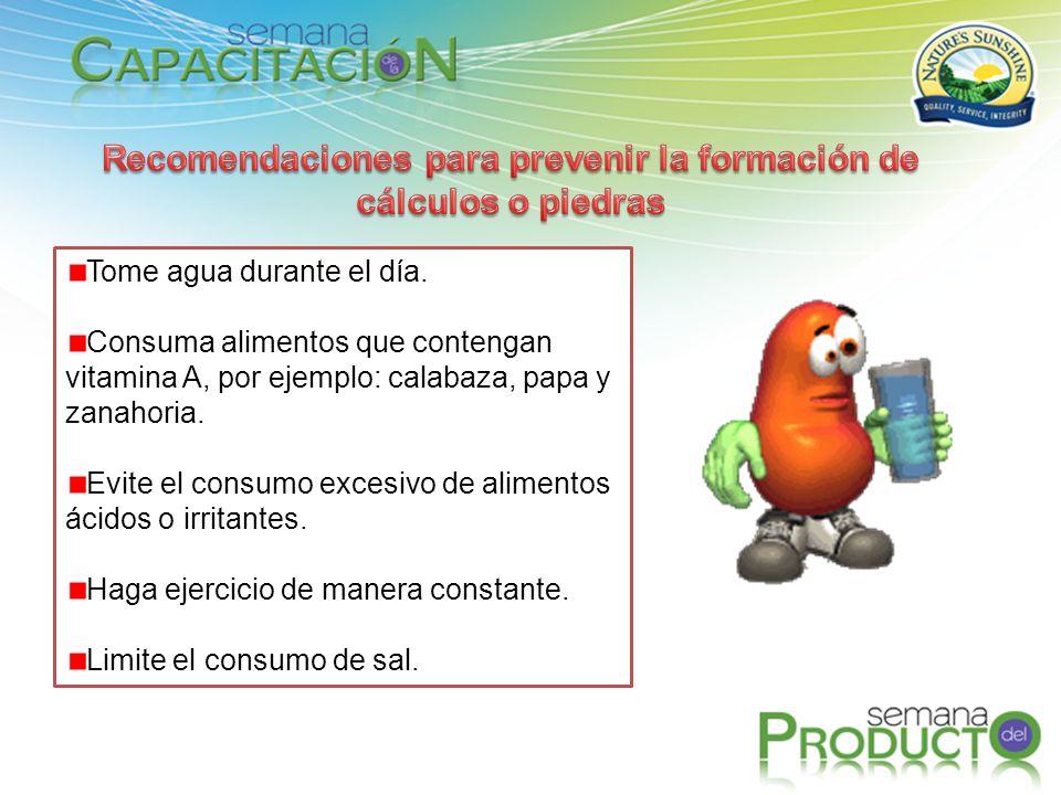 Tome agua durante el día. Consuma alimentos que contengan vitamina A, por ejemplo: calabaza, papa y zanahoria. Evite el consumo excesivo de alimentos