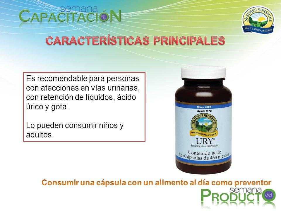 Es recomendable para personas con afecciones en vías urinarias, con retención de líquidos, ácido úrico y gota. Lo pueden consumir niños y adultos.