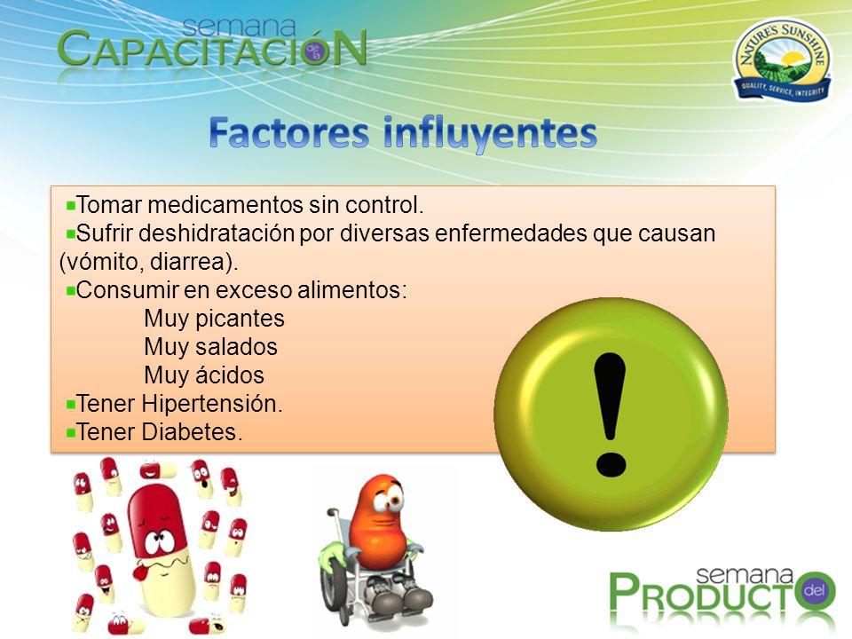 Tomar medicamentos sin control. Sufrir deshidratación por diversas enfermedades que causan (vómito, diarrea). Consumir en exceso alimentos: Muy picant