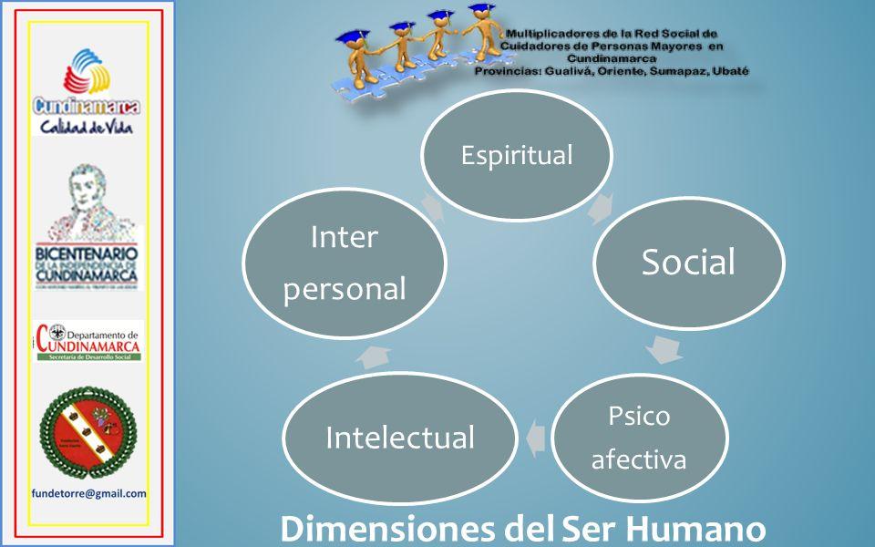 Dimensiones del Ser Humano Espiritual Social Psico afectiva Intelectual Inter personal