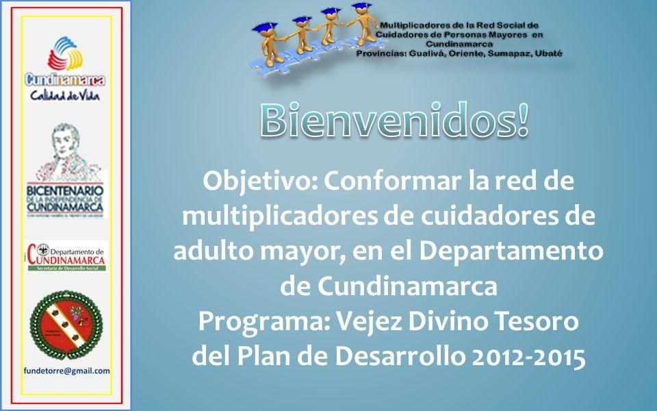 Objetivo: Conformar la red de multiplicadores de cuidadores de adulto mayor, en el Departamento de Cundinamarca Programa: Vejez Divino Tesoro del Plan
