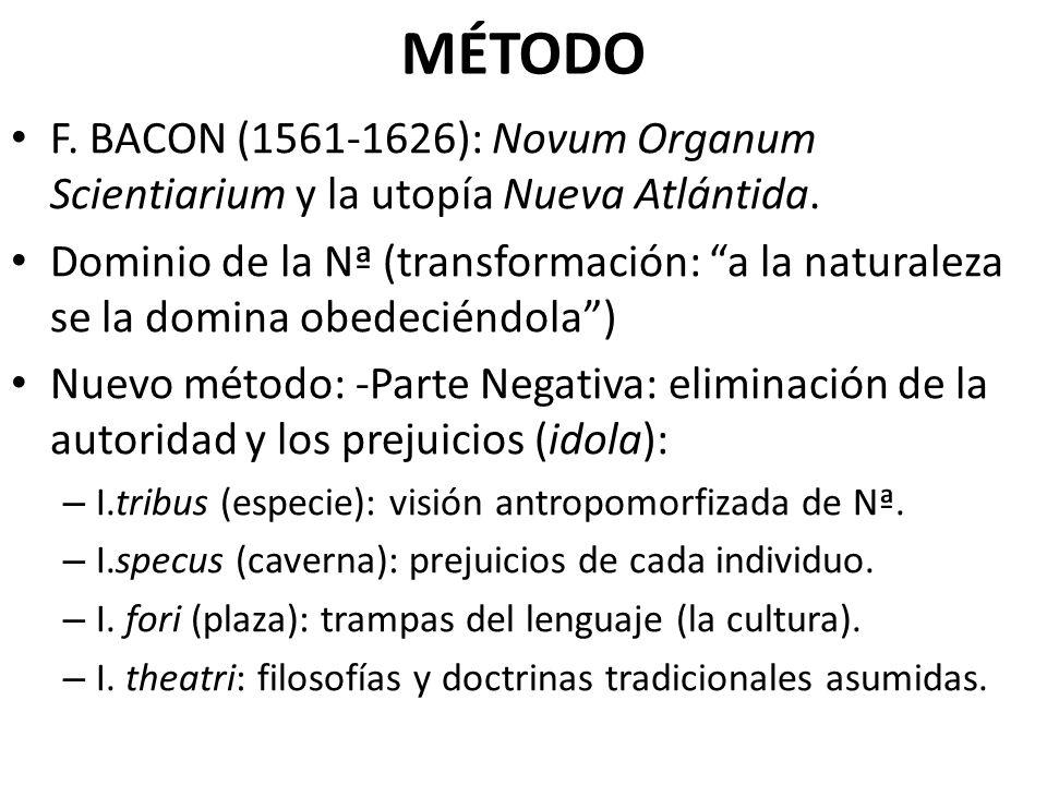 MÉTODO F. BACON (1561-1626): Novum Organum Scientiarium y la utopía Nueva Atlántida. Dominio de la Nª (transformación: a la naturaleza se la domina ob