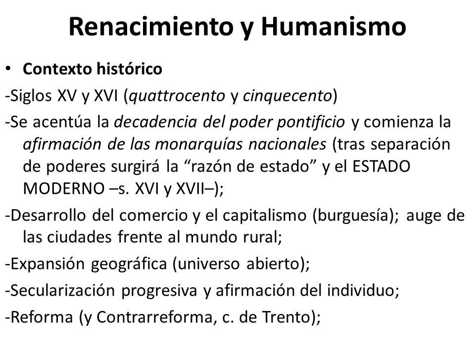Renacimiento y Humanismo Contexto histórico -Siglos XV y XVI (quattrocento y cinquecento) -Se acentúa la decadencia del poder pontificio y comienza la