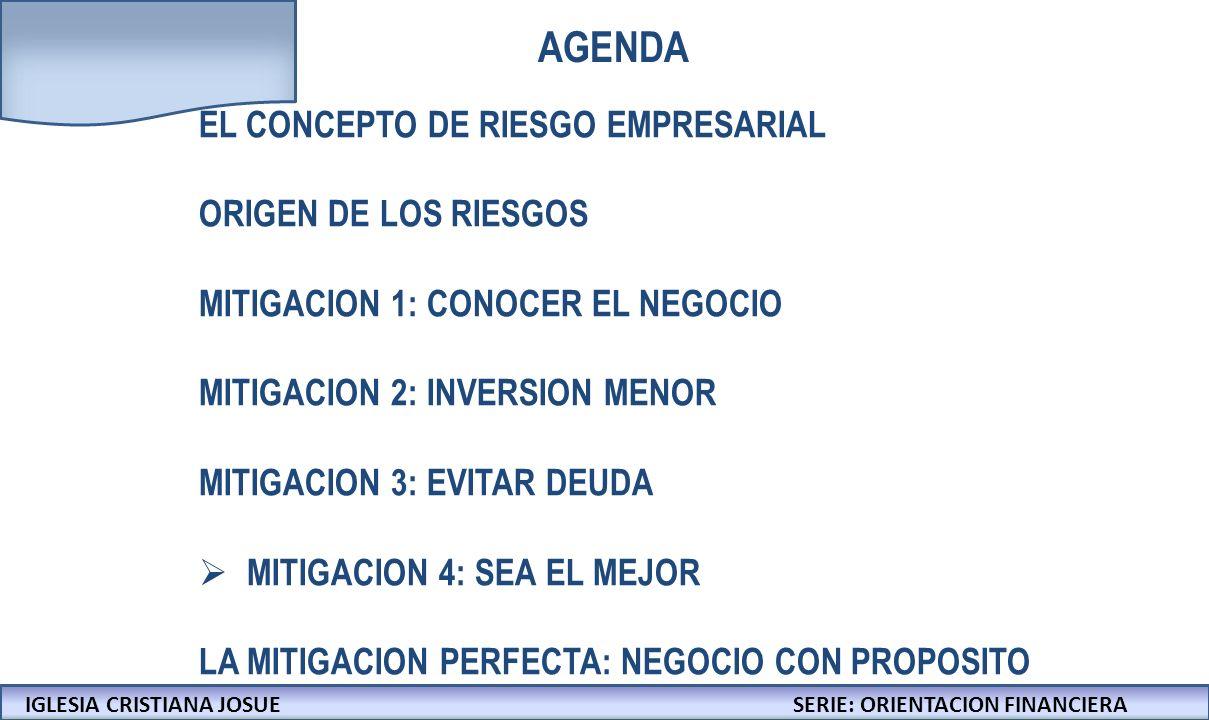 IGLESIA CRISTIANA JOSUECONFERENCIAS: LA BIBLIA Y LOS NEGOCIOS IGLESIA CRISTIANA JOSUESERIE: ORIENTACION FINANCIERA AGENDA EL CONCEPTO DE RIESGO EMPRESARIAL ORIGEN DE LOS RIESGOS MITIGACION 1: CONOCER EL NEGOCIO MITIGACION 2: INVERSION MENOR MITIGACION 3: EVITAR DEUDA MITIGACION 4: SEA EL MEJOR LA MITIGACION PERFECTA: NEGOCIO CON PROPOSITO