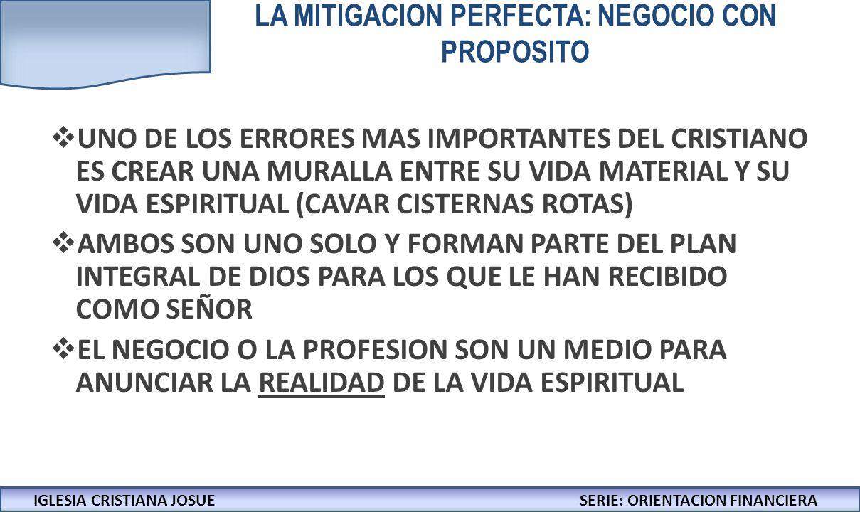 IGLESIA CRISTIANA JOSUECONFERENCIAS: LA BIBLIA Y LOS NEGOCIOS LA MITIGACION PERFECTA: NEGOCIO CON PROPOSITO UNO DE LOS ERRORES MAS IMPORTANTES DEL CRISTIANO ES CREAR UNA MURALLA ENTRE SU VIDA MATERIAL Y SU VIDA ESPIRITUAL (CAVAR CISTERNAS ROTAS) AMBOS SON UNO SOLO Y FORMAN PARTE DEL PLAN INTEGRAL DE DIOS PARA LOS QUE LE HAN RECIBIDO COMO SEÑOR EL NEGOCIO O LA PROFESION SON UN MEDIO PARA ANUNCIAR LA REALIDAD DE LA VIDA ESPIRITUAL IGLESIA CRISTIANA JOSUESERIE: ORIENTACION FINANCIERA