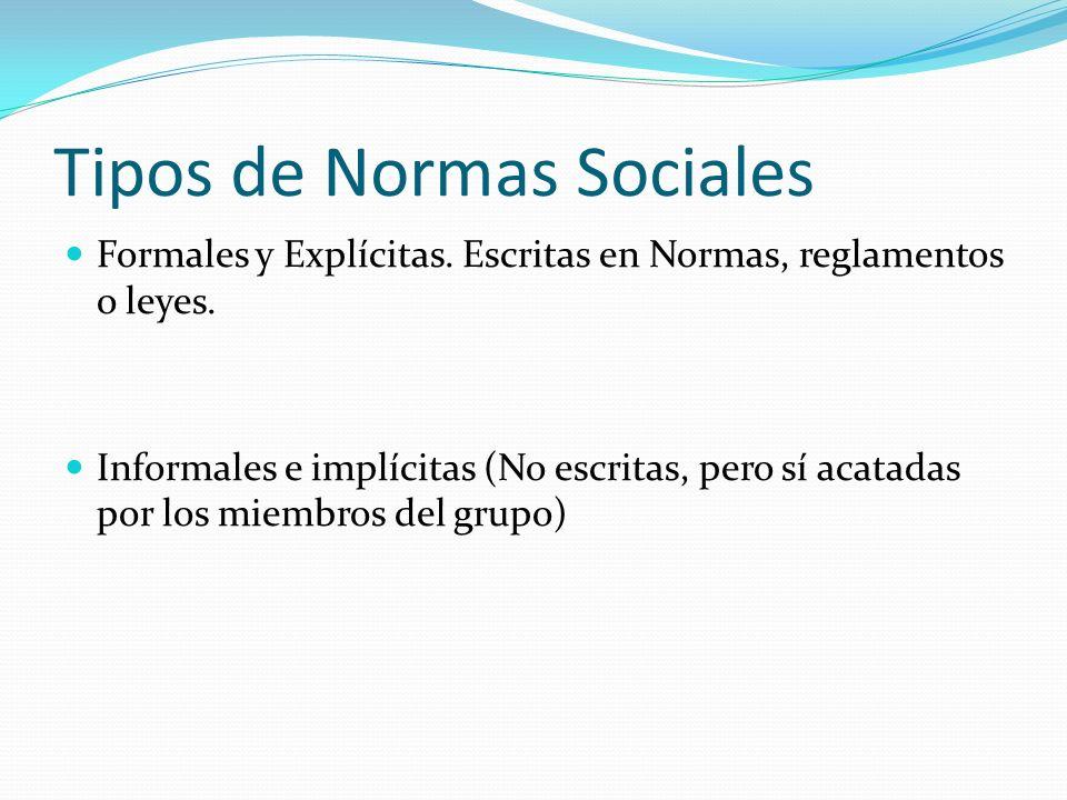Tipos de Normas Sociales Formales y Explícitas. Escritas en Normas, reglamentos o leyes. Informales e implícitas (No escritas, pero sí acatadas por lo