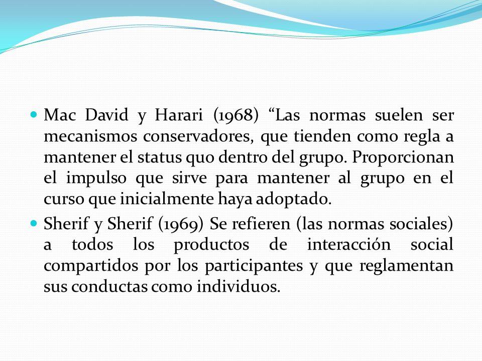 Mac David y Harari (1968) Las normas suelen ser mecanismos conservadores, que tienden como regla a mantener el status quo dentro del grupo. Proporcion
