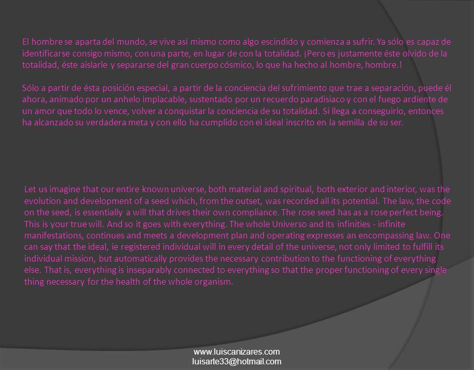 www.luiscanizares.com luisarte33@hotmail.com El hombre se aparta del mundo, se vive así mismo como algo escindido y comienza a sufrir.