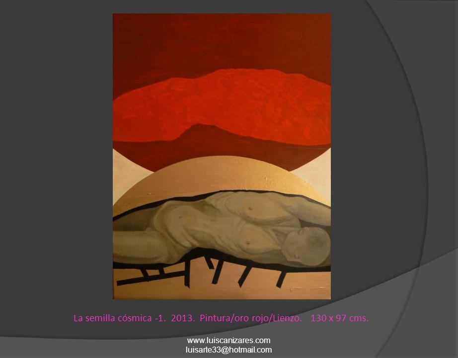 La semilla cósmica -1. 2013. Pintura/oro rojo/Lienzo. 130 x 97 cms.