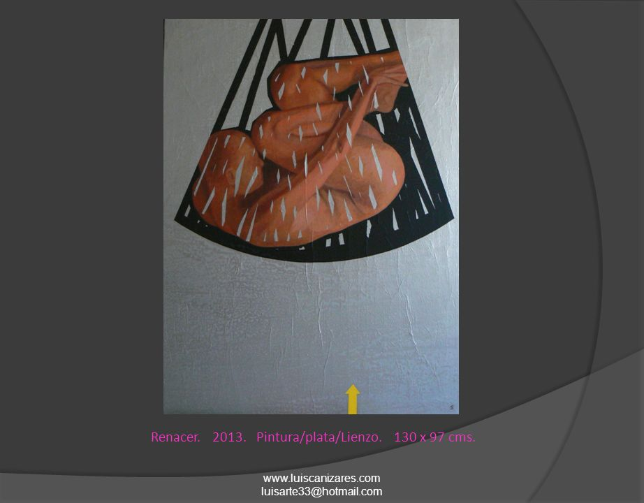 Al final del cielo. 2013. Pintura/plata/Lienzo. 194 x 130 cms.