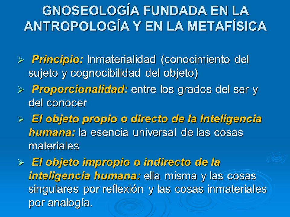 GNOSEOLOGÍA FUNDADA EN LA ANTROPOLOGÍA Y EN LA METAFÍSICA Principio: Inmaterialidad (conocimiento del sujeto y cognocibilidad del objeto) Principio: I