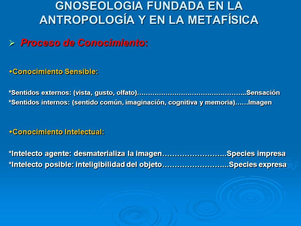 GNOSEOLOGIA FUNDADA EN LA ANTROPOLOGÍA Y EN LA METAFÍSICA Proceso de Conocimiento: Proceso de Conocimiento: Conocimiento Sensible: Conocimiento Sensib