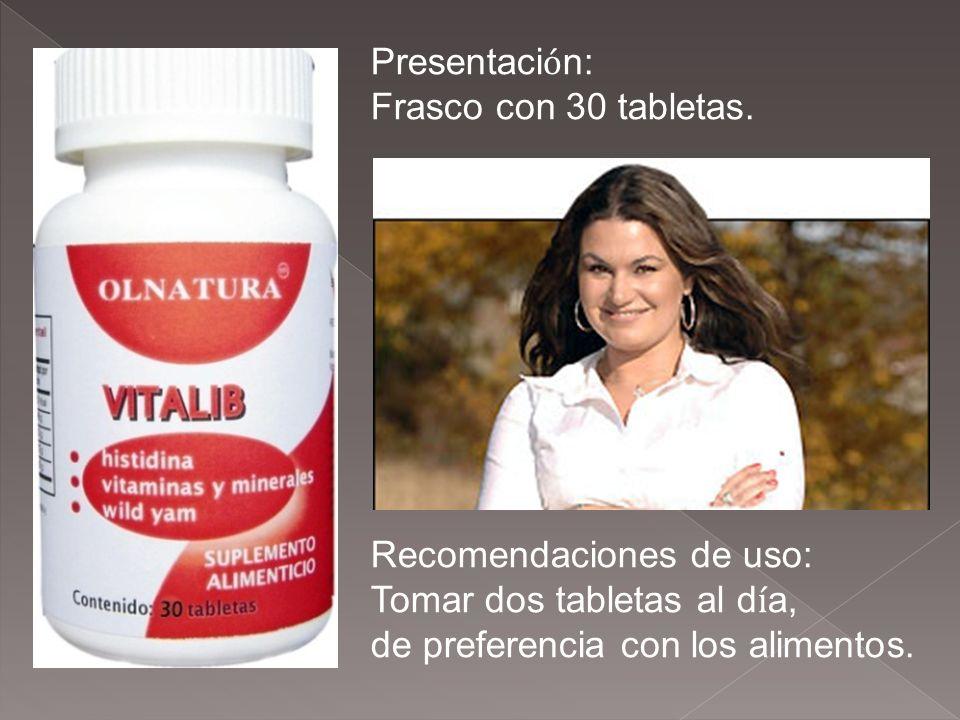 Presentaci ó n: Frasco con 30 tabletas. Recomendaciones de uso: Tomar dos tabletas al d í a, de preferencia con los alimentos.