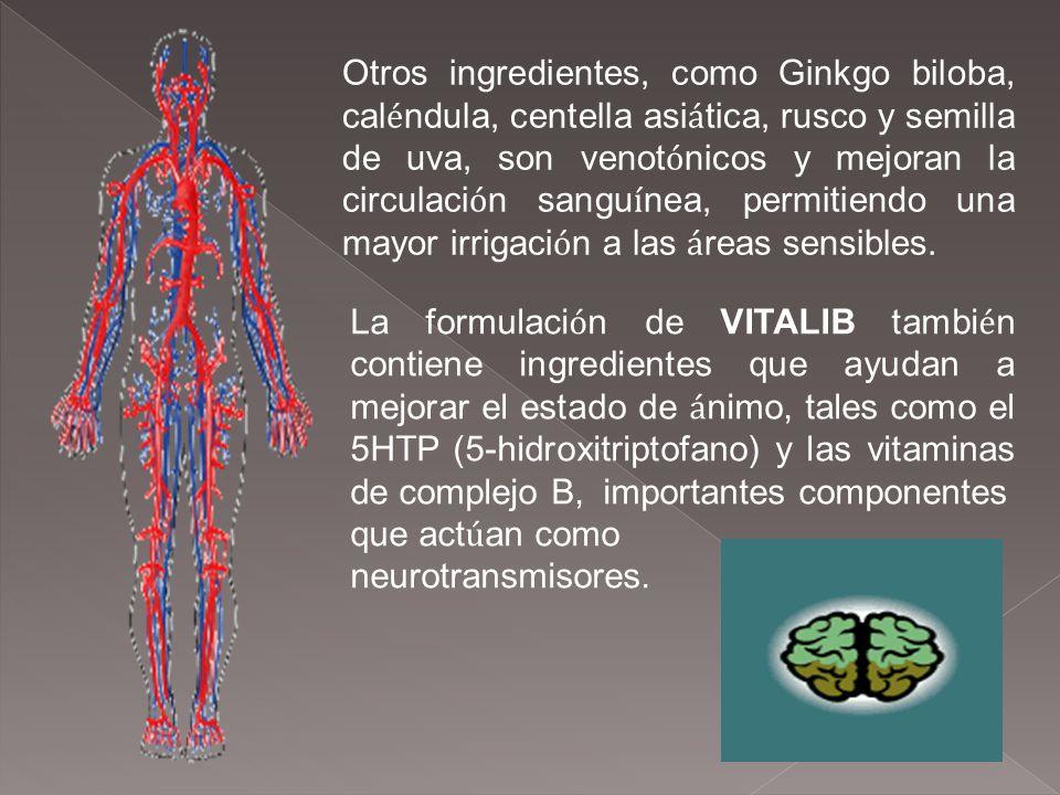 Otros ingredientes, como Ginkgo biloba, cal é ndula, centella asi á tica, rusco y semilla de uva, son venot ó nicos y mejoran la circulaci ó n sangu í