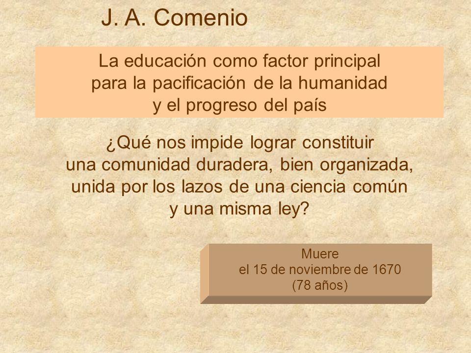 J. A. Comenio La educación como factor principal para la pacificación de la humanidad y el progreso del país Muere el 15 de noviembre de 1670 (78 años