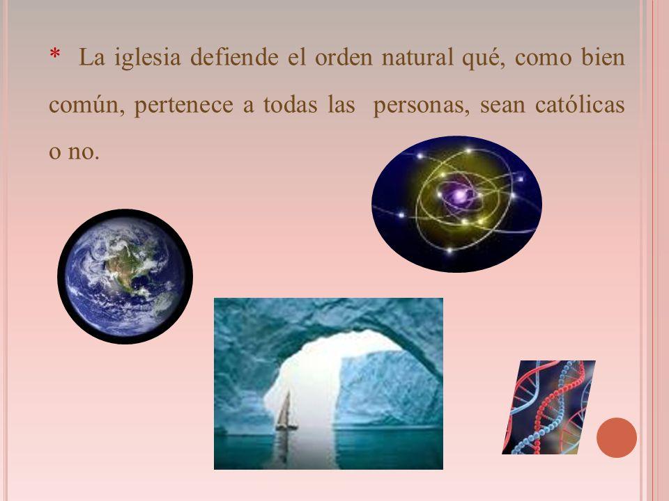 * La iglesia defiende el orden natural qué, como bien común, pertenece a todas las personas, sean católicas o no.