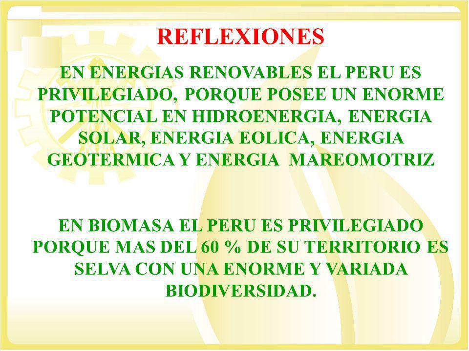 REFLEXIONES EN ENERGIAS RENOVABLES EL PERU ES PRIVILEGIADO, PORQUE POSEE UN ENORME POTENCIAL EN HIDROENERGIA, ENERGIA SOLAR, ENERGIA EOLICA, ENERGIA G