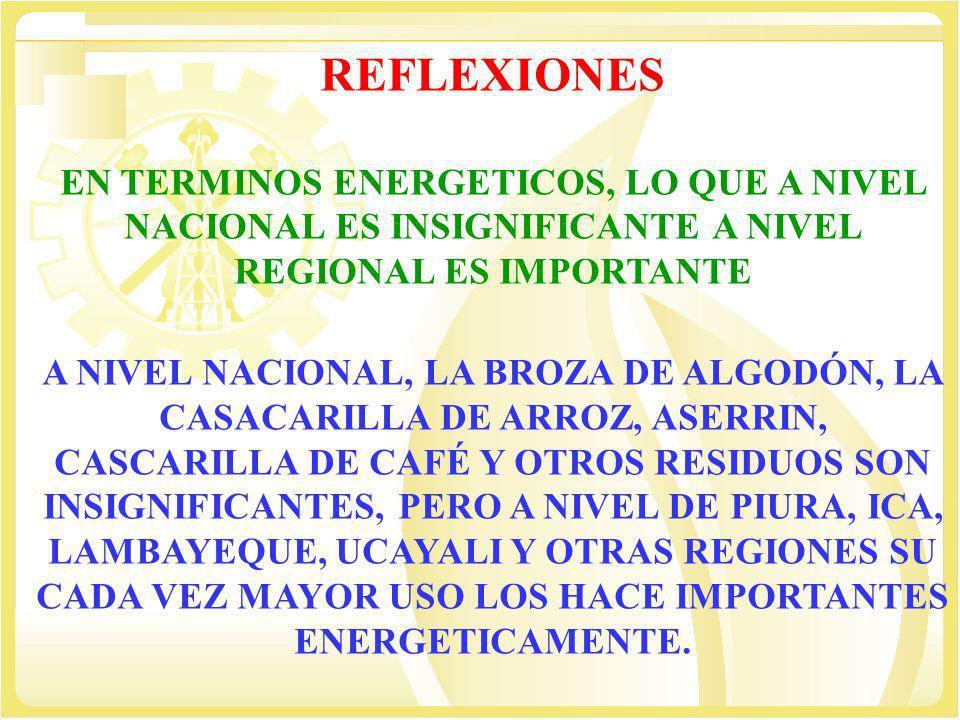 REFLEXIONES EN TERMINOS ENERGETICOS, LO QUE A NIVEL NACIONAL ES INSIGNIFICANTE A NIVEL REGIONAL ES IMPORTANTE A NIVEL NACIONAL, LA BROZA DE ALGODÓN, L