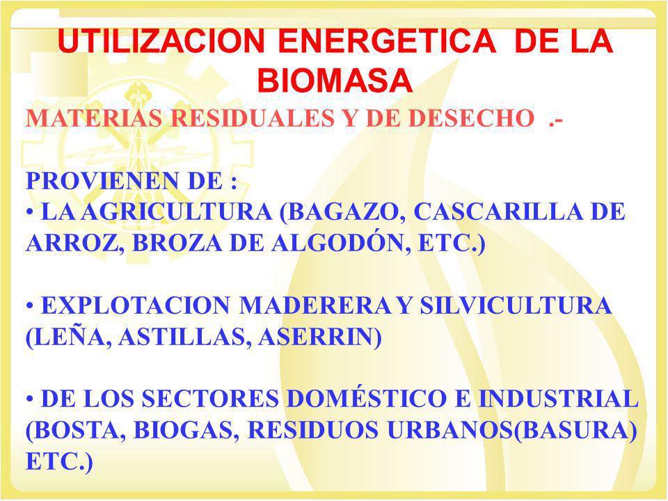 UTILIZACION ENERGETICA DE LA BIOMASA MATERIAS RESIDUALES Y DE DESECHO.- PROVIENEN DE : LA AGRICULTURA (BAGAZO, CASCARILLA DE ARROZ, BROZA DE ALGODÓN,