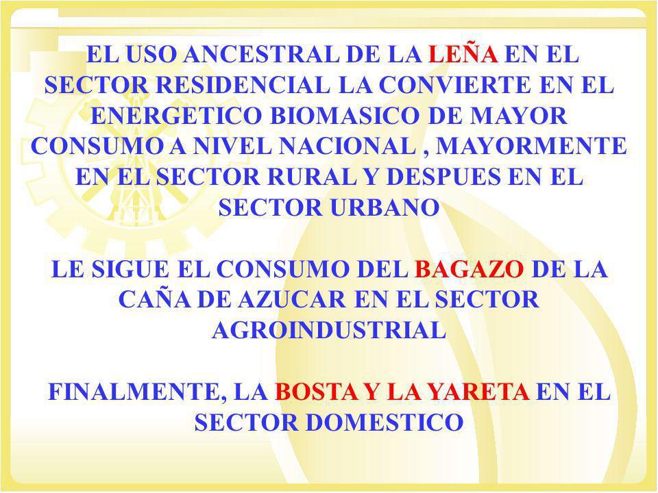 EL USO ANCESTRAL DE LA LEÑA EN EL SECTOR RESIDENCIAL LA CONVIERTE EN EL ENERGETICO BIOMASICO DE MAYOR CONSUMO A NIVEL NACIONAL, MAYORMENTE EN EL SECTO