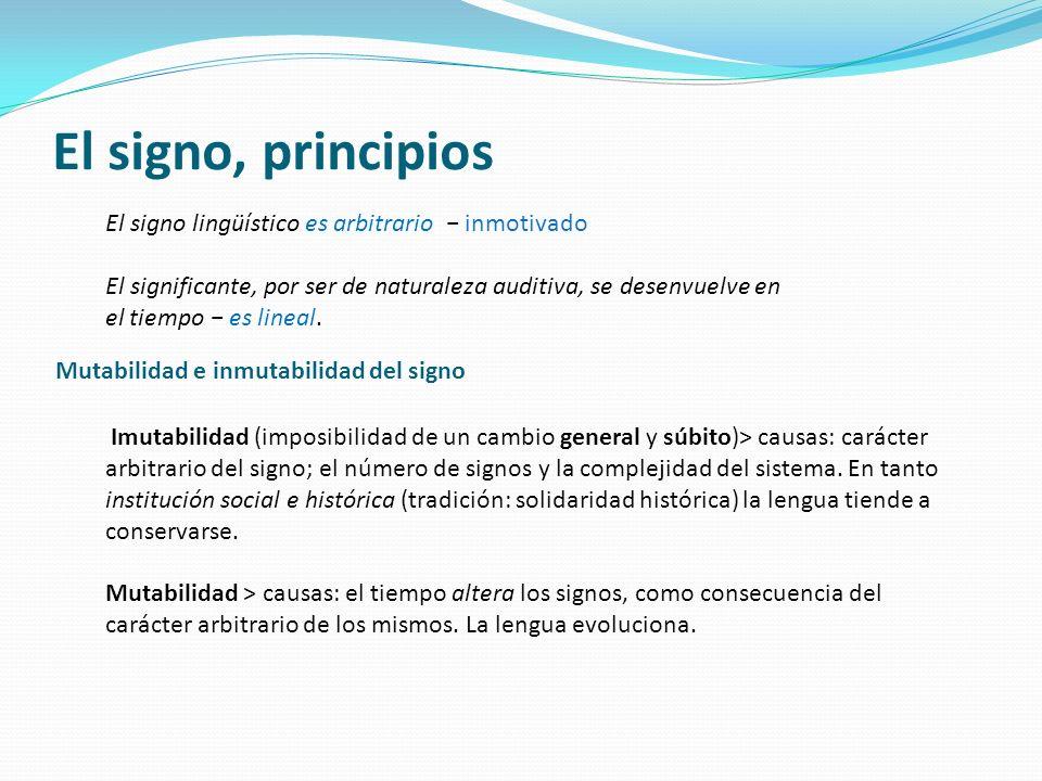 El signo, principios El signo lingüístico es arbitrario inmotivado El significante, por ser de naturaleza auditiva, se desenvuelve en el tiempo es lin