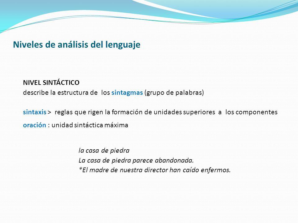 NIVEL SINTÁCTICO describe la estructura de los sintagmas (grupo de palabras) sintaxis > reglas que rigen la formación de unidades superiores a los com