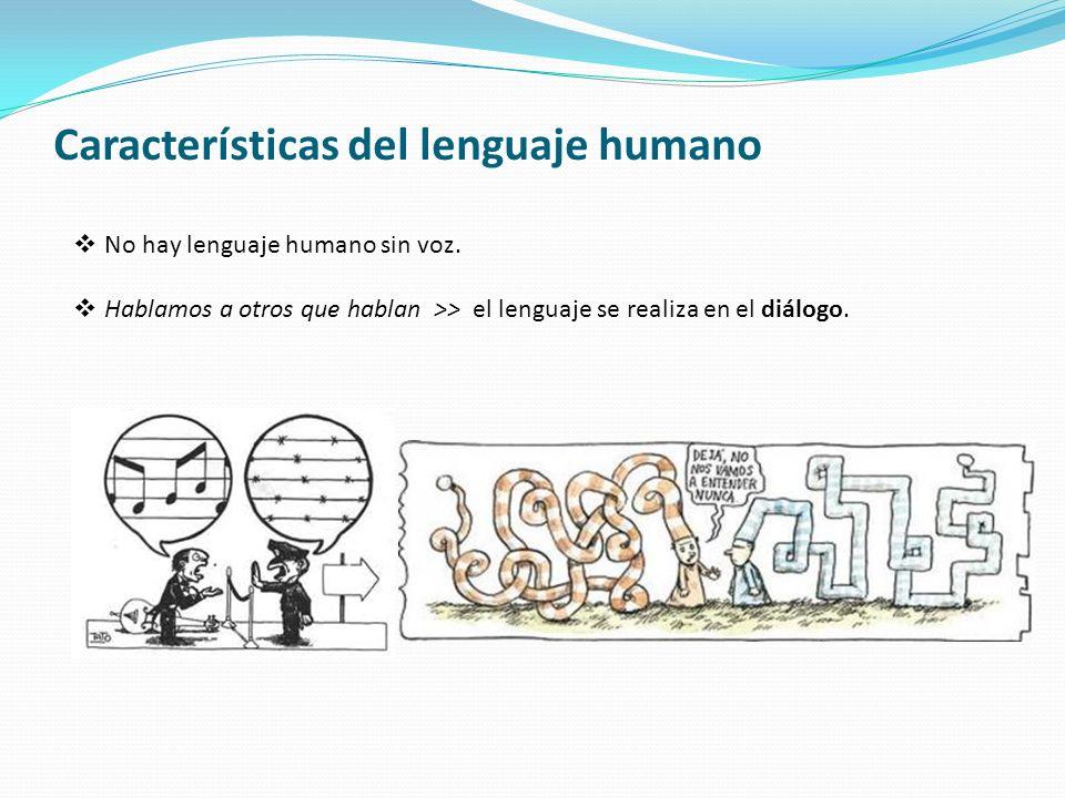 Características del lenguaje humano No hay lenguaje humano sin voz. Hablamos a otros que hablan >> el lenguaje se realiza en el diálogo.
