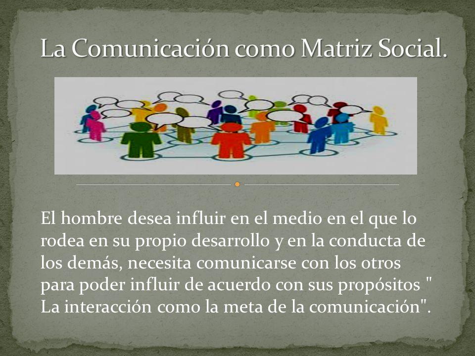El hombre desea influir en el medio en el que lo rodea en su propio desarrollo y en la conducta de los demás, necesita comunicarse con los otros para poder influir de acuerdo con sus propósitos La interacción como la meta de la comunicación .