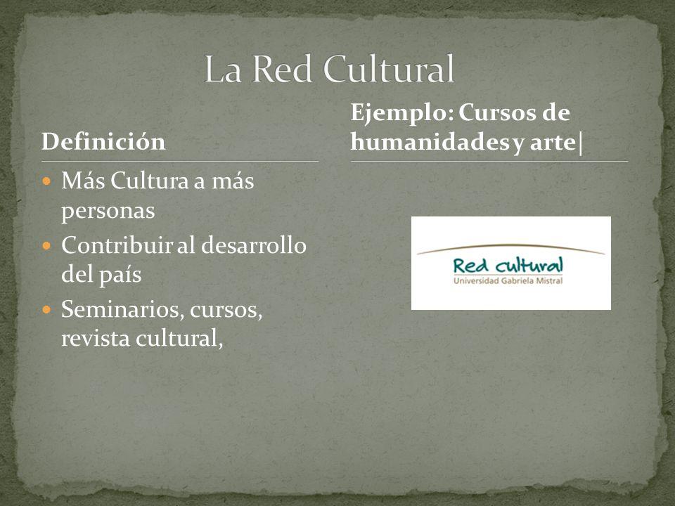 Definición Más Cultura a más personas Contribuir al desarrollo del país Seminarios, cursos, revista cultural, Ejemplo: Cursos de humanidades y arte|