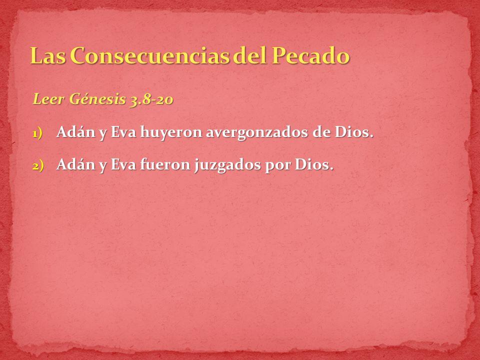 Leer Génesis 3.8-20 1) Adán y Eva huyeron avergonzados de Dios.