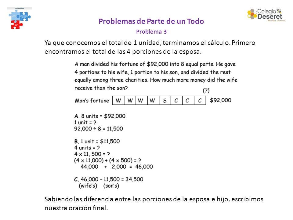 Problemas de Parte de un Todo Problema 3 Ya que conocemos el total de 1 unidad, terminamos el cálculo. Primero encontramos el total de las 4 porciones