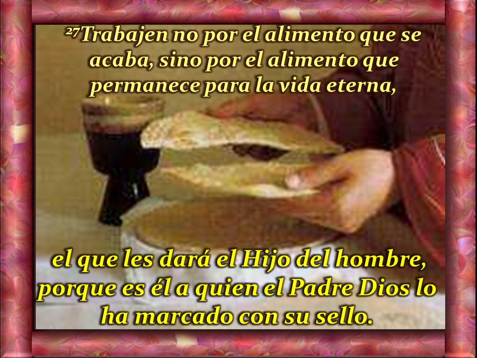 26 Jesús les contestó: –Les aseguro, no me buscan por los signos que vieron, sino porque comieron pan hasta saciarse.