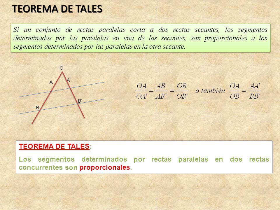 TEOREMA DE TALES Si un conjunto de rectas paralelas corta a dos rectas secantes, los segmentos determinados por las paralelas en una de las secantes, son proporcionales a los segmentos determinados por las paralelas en la otra secante.