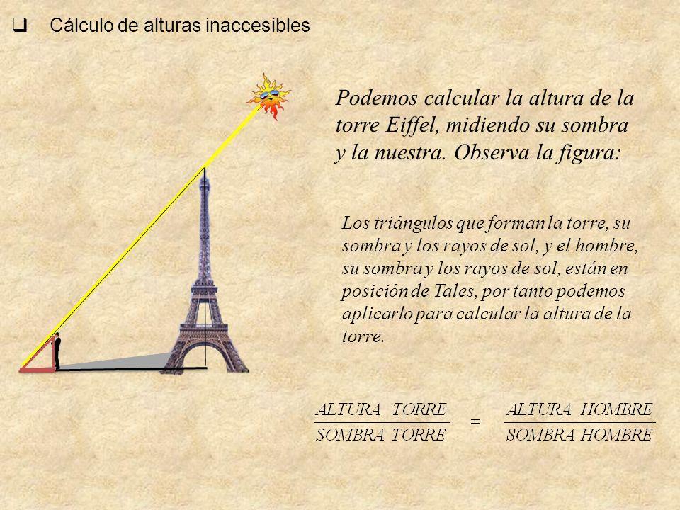 Cálculo de alturas inaccesibles Podemos calcular la altura de la torre Eiffel, midiendo su sombra y la nuestra. Observa la figura: Los triángulos que