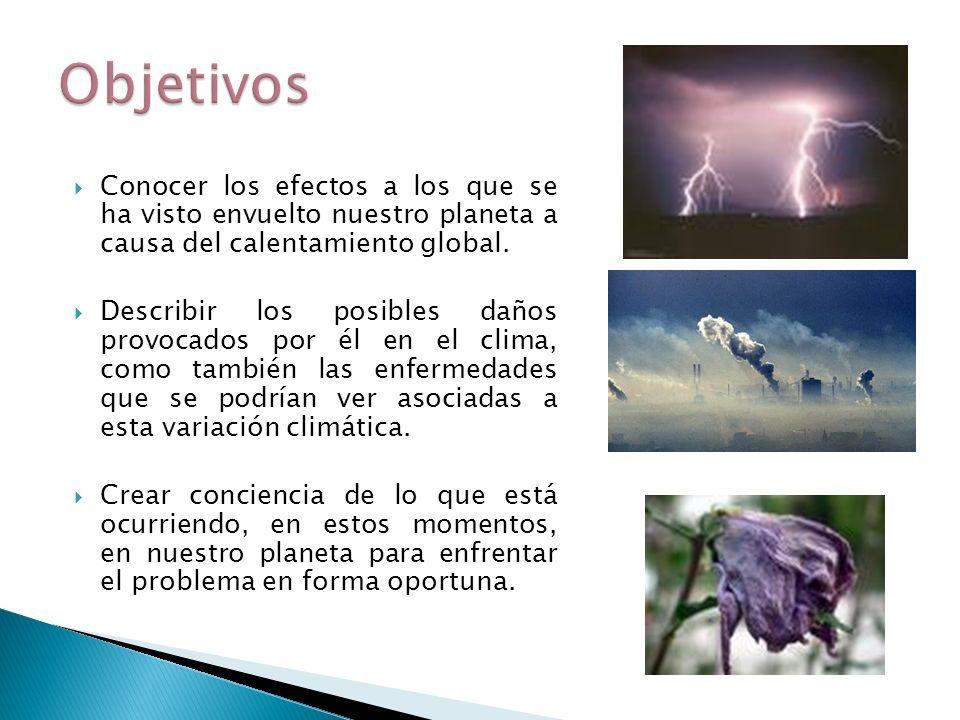 Conocer los efectos a los que se ha visto envuelto nuestro planeta a causa del calentamiento global. Describir los posibles daños provocados por él en