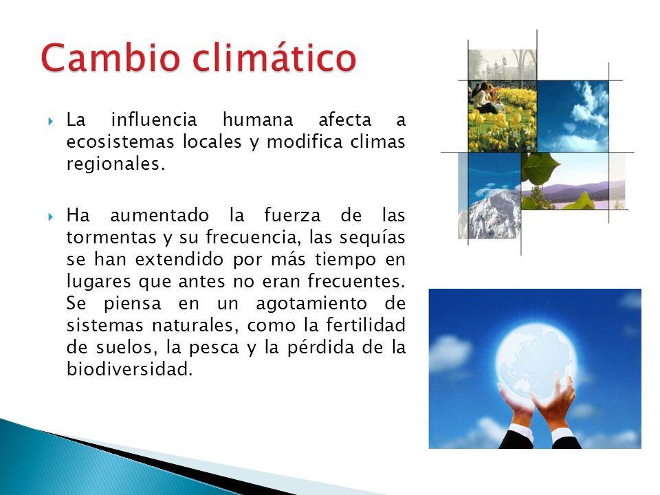 La influencia humana afecta a ecosistemas locales y modifica climas regionales. Ha aumentado la fuerza de las tormentas y su frecuencia, las sequías s