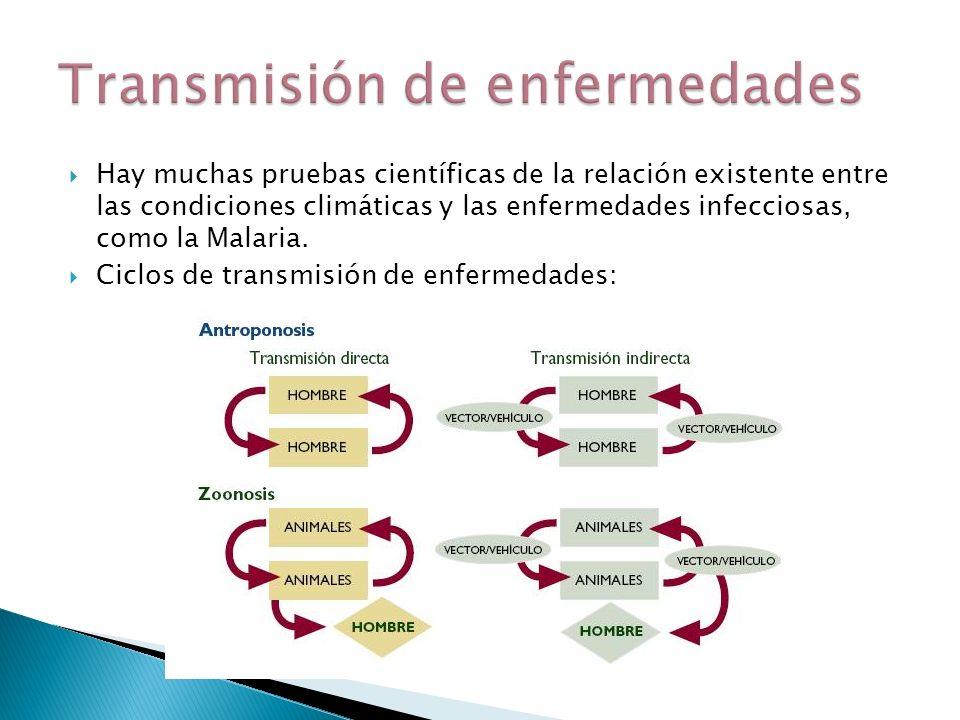 Hay muchas pruebas científicas de la relación existente entre las condiciones climáticas y las enfermedades infecciosas, como la Malaria. Ciclos de tr