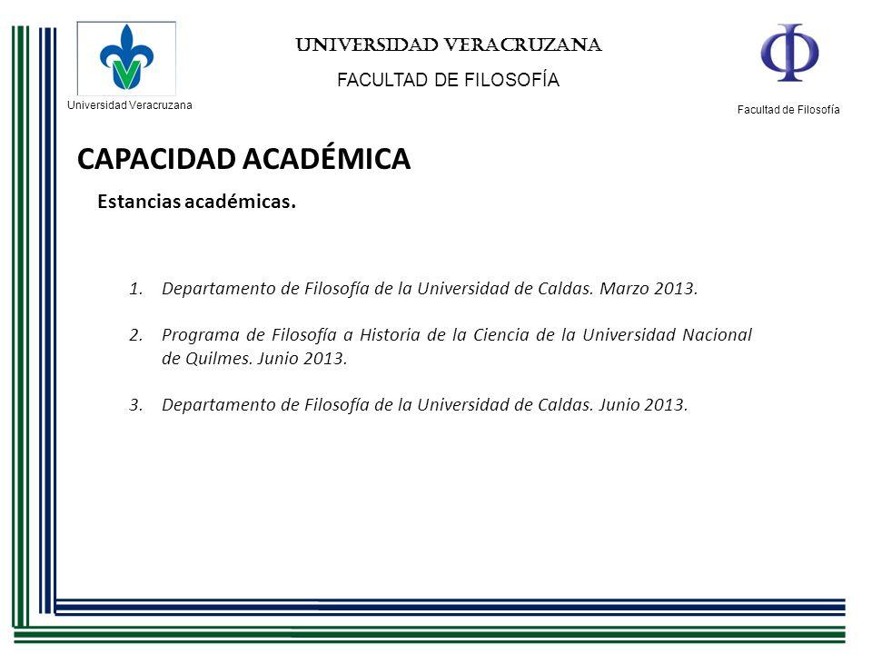Universidad Veracruzana Facultad de Filosofía UNIVERSIDAD VERACRUZANA FACULTAD DE FILOSOFÍA CAPACIDAD ACADÉMICA Estancias académicas. 1.Departamento d