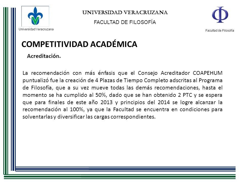 Universidad Veracruzana Facultad de Filosofía UNIVERSIDAD VERACRUZANA FACULTAD DE FILOSOFÍA COMPETITIVIDAD ACADÉMICA Acreditación. La recomendación co