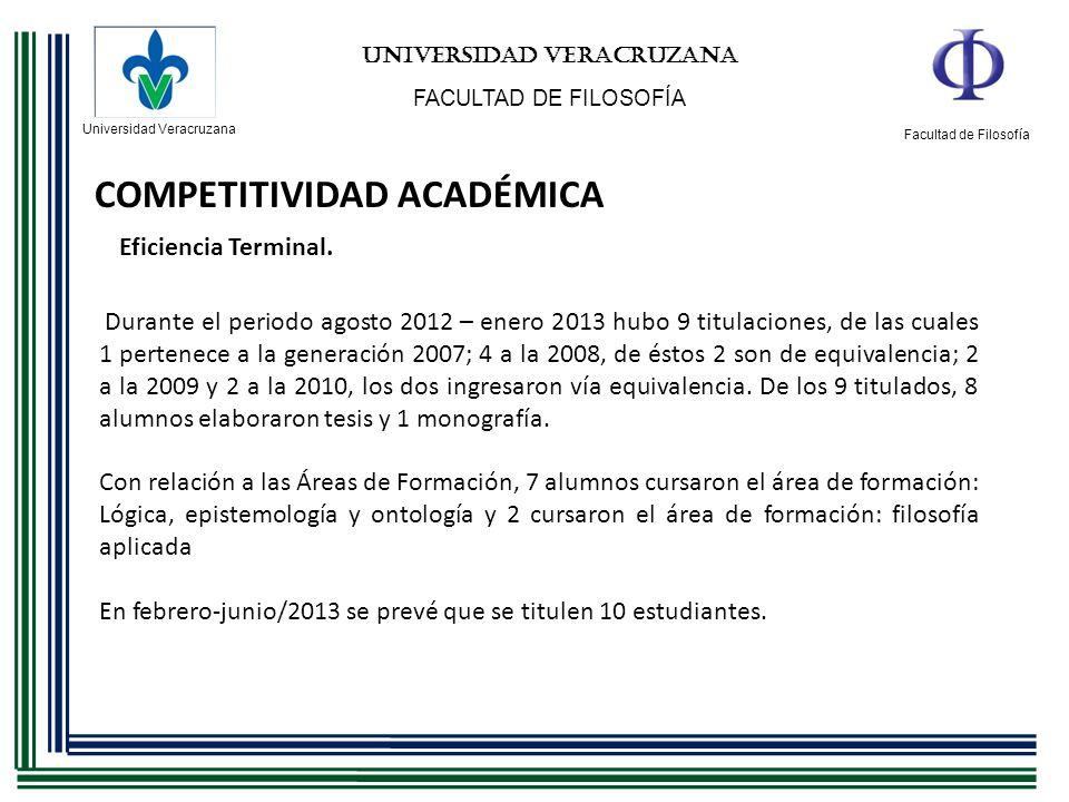 Universidad Veracruzana Facultad de Filosofía UNIVERSIDAD VERACRUZANA FACULTAD DE FILOSOFÍA COMPETITIVIDAD ACADÉMICA Eficiencia Terminal. Durante el p