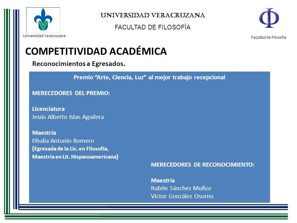 Universidad Veracruzana Facultad de Filosofía UNIVERSIDAD VERACRUZANA FACULTAD DE FILOSOFÍA COMPETITIVIDAD ACADÉMICA Reconocimientos a Egresados. Prem