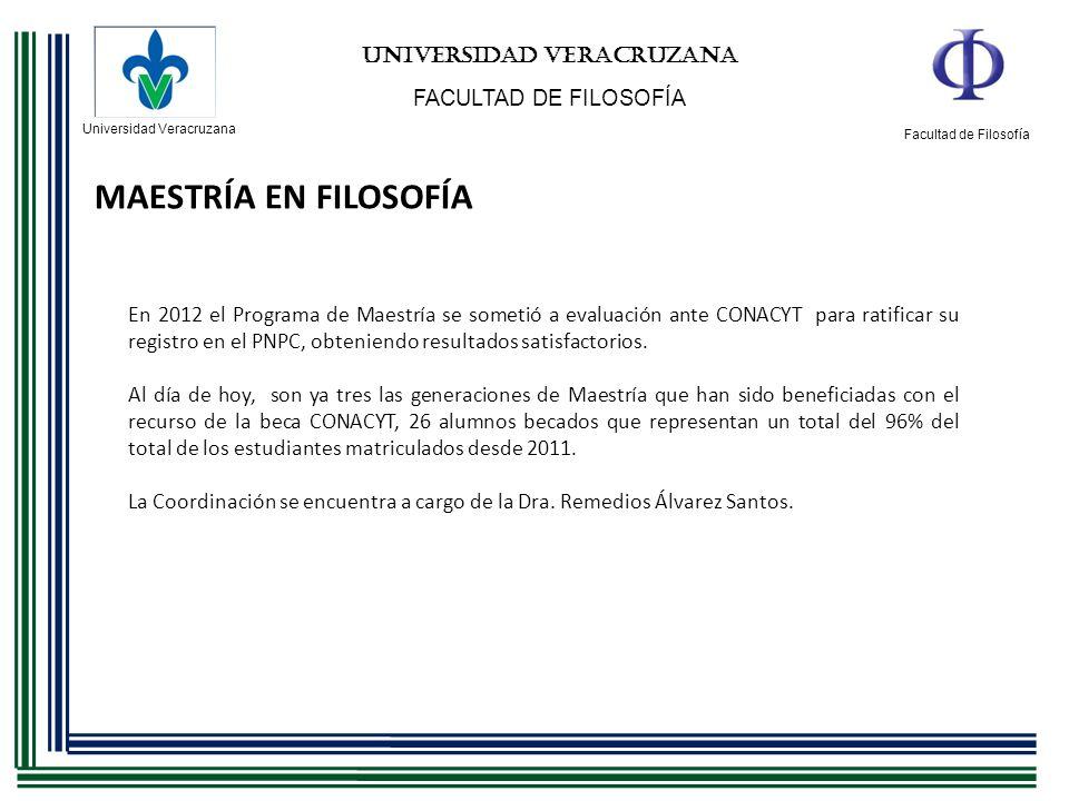 Universidad Veracruzana Facultad de Filosofía UNIVERSIDAD VERACRUZANA FACULTAD DE FILOSOFÍA MAESTRÍA EN FILOSOFÍA En 2012 el Programa de Maestría se s