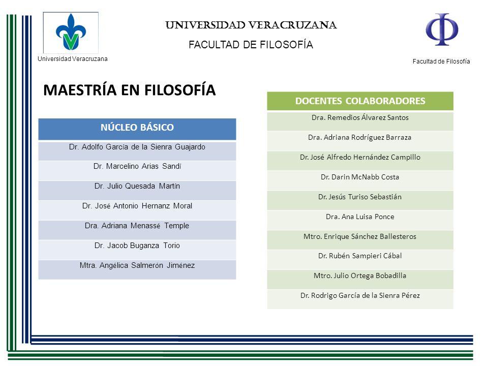 Universidad Veracruzana Facultad de Filosofía UNIVERSIDAD VERACRUZANA FACULTAD DE FILOSOFÍA MAESTRÍA EN FILOSOFÍA NÚCLEO BÁSICO Dr. Adolfo Garc í a de