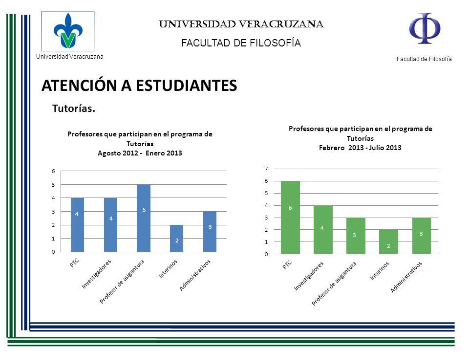 Universidad Veracruzana Facultad de Filosofía UNIVERSIDAD VERACRUZANA FACULTAD DE FILOSOFÍA ATENCIÓN A ESTUDIANTES Tutorías.