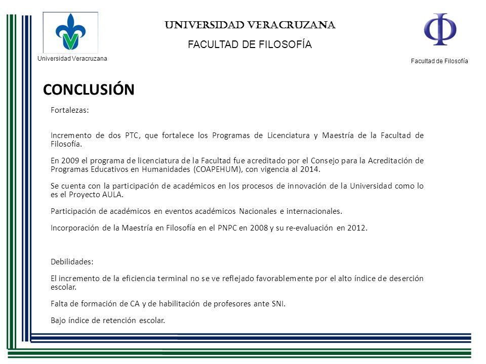 Universidad Veracruzana Facultad de Filosofía UNIVERSIDAD VERACRUZANA FACULTAD DE FILOSOFÍA CONCLUSIÓN Fortalezas: Incremento de dos PTC, que fortalec