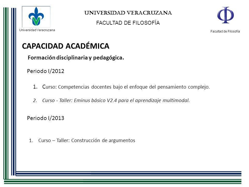 Universidad Veracruzana Facultad de Filosofía UNIVERSIDAD VERACRUZANA FACULTAD DE FILOSOFÍA CAPACIDAD ACADÉMICA Periodo I/2012 1.Curso – Taller: Const