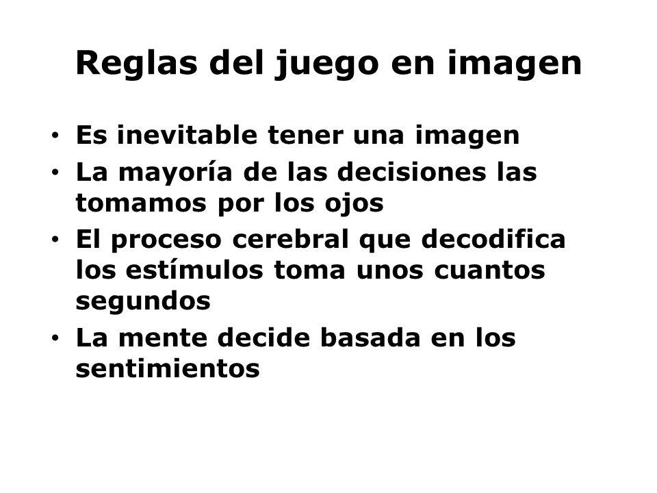 Reglas del juego en imagen Es inevitable tener una imagen La mayoría de las decisiones las tomamos por los ojos El proceso cerebral que decodifica los